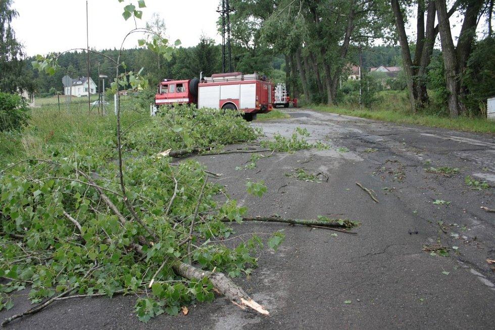 Popadané stromy v Prachaticích.