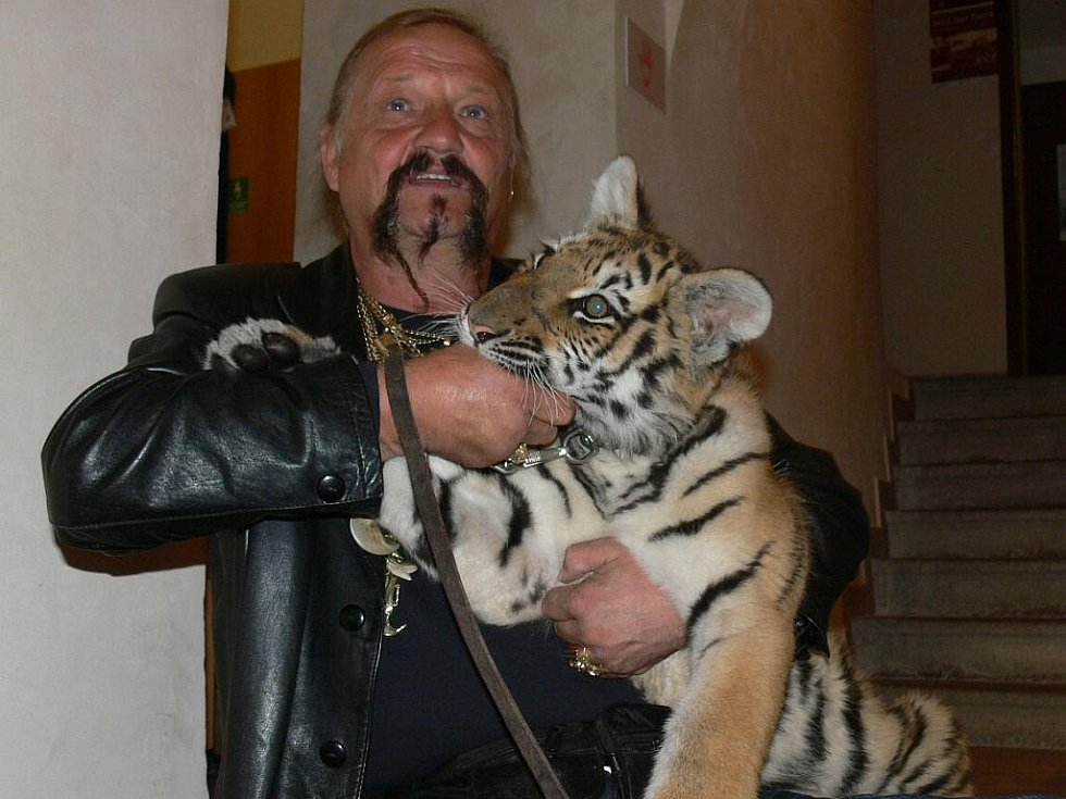 Jaromír Joo navštívil prachatické muzeum loutek a cirkusu s tygřicí Tajgou.