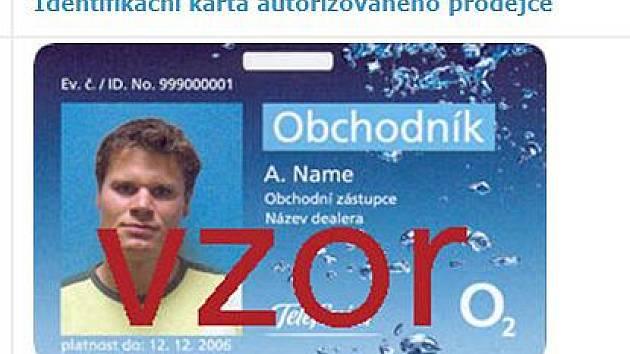 Karta, kterou se musí prokázat prodejce od O2.