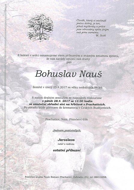 Poslední rozloučení sBohuslavem Naušem se uskuteční vpátek 28.dubna 2017.