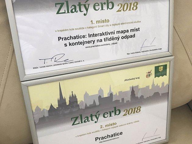Prachatičtí získali cenu Zlatý erb 2018.