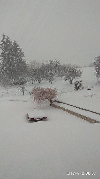 Dolní Kožlí na Prachaticku. Aktuálně tu podle Saši Vršínské leží přes 25 centimetrů sněhu.