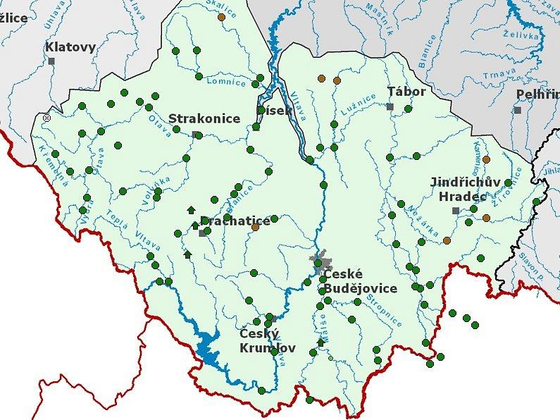 Mapka stavů a průtoků vodních toků v jižních Čechách.