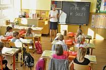 První školní den v Základní škole ve Smetanově ulici ve Vimperku.