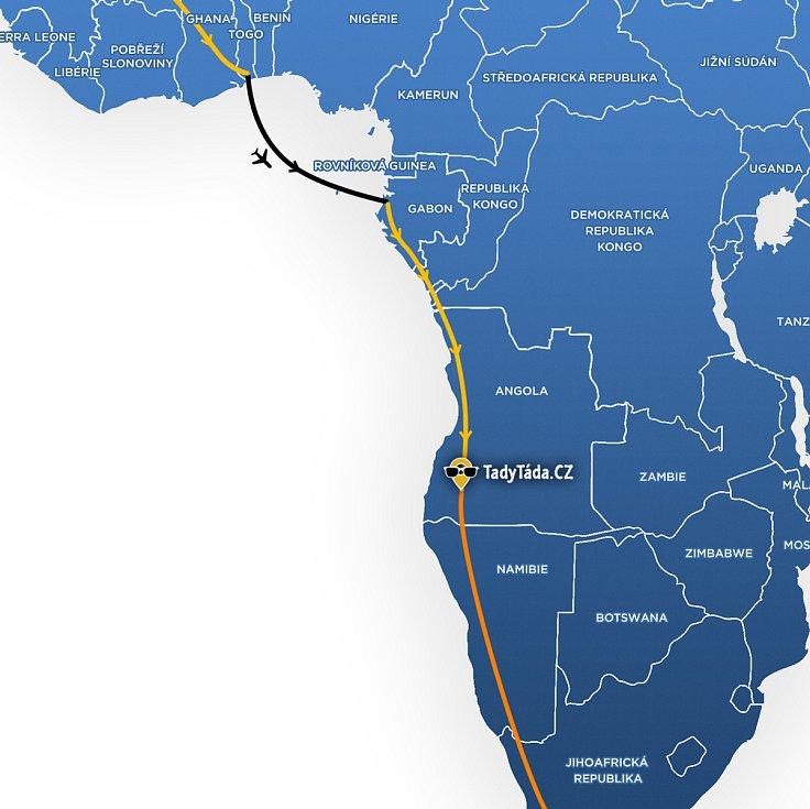 Tadeáš Šíma z Prachatic projíždí na svém kole Angolou. Cíl jeho cesty je v Jihoafrické republice.