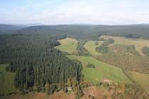 Národní park Šumava, letecký snímek.
