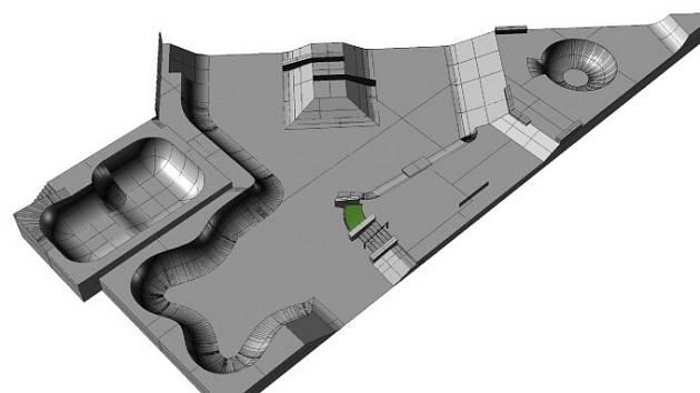 Vizualizace nového areálu skate parku navrhovaný společností Mystic Constructions s.r.o., snímek poskytlo město Prachatice