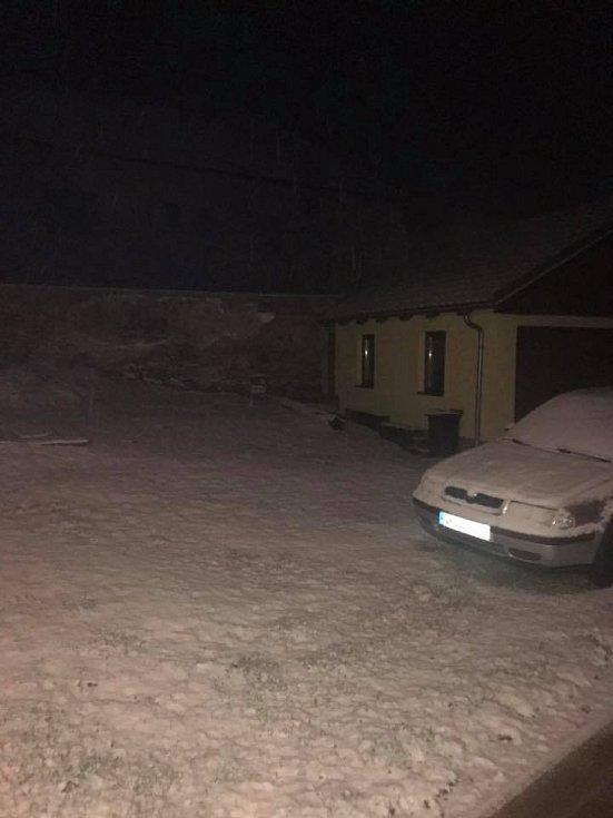 První sníh. Lipovice.