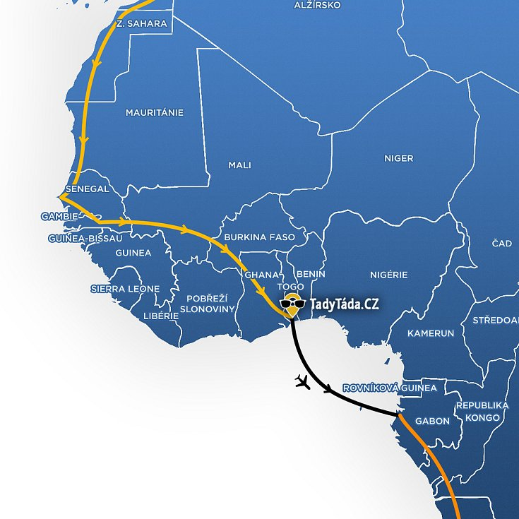 Mapa trasy Tadeáše Šímy po Africe.