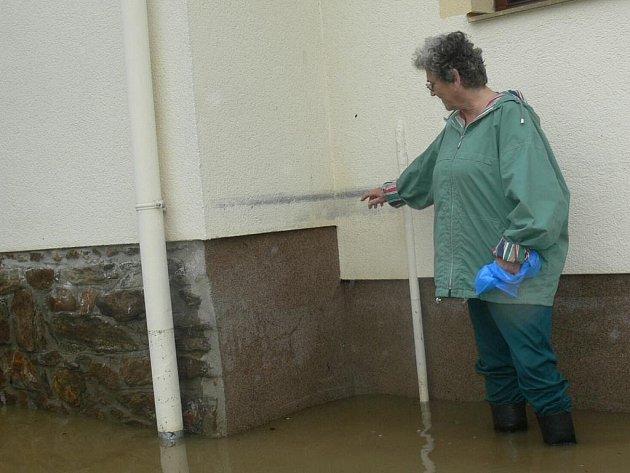 Libuše Cardová z Husince ukazuje, kam sahala voda při povodních před sedmi roky.