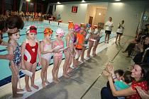 Tradiční předvánoční plavecké závody o Vánočního kapra v prachatickém plaveckém bazénu.