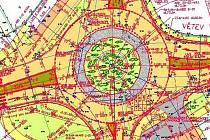 Plán nové kruhové křižovatky v Prachaticích.