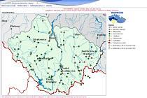 Print screen mapky povodí Vltavy se stavy a průtoky na jihočeských tocích. Zdroj: www.pvl.cz.