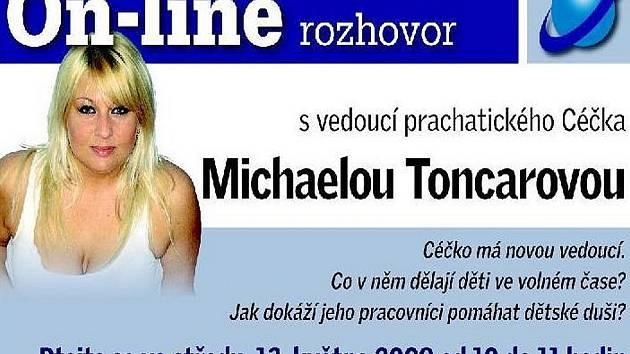 Ve středu 13. května 2009 se od 10.00 hodin do 11.00 hodin na našich stránkách uskutečnil on-line rozhovor s vedoucí prachatického Céčka Michaelou Toncarovou.