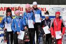 Sprint týmů vyhrály K. Mondlová s A. Klementovou, druhé skončily V. Hudečková s K. Předotovou.
