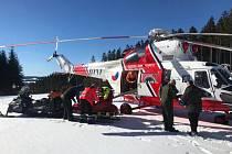 Zásah horské služby na Lipně, kde se zranil osmiletý lyžař.