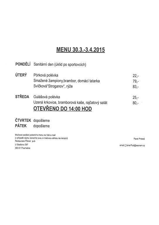 Týdenní nabídka - Restaurace Pilsner pub Prachatice