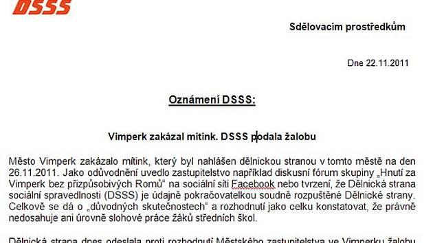 Tisková zpráva Dělnické strany sociální spravedlnosti