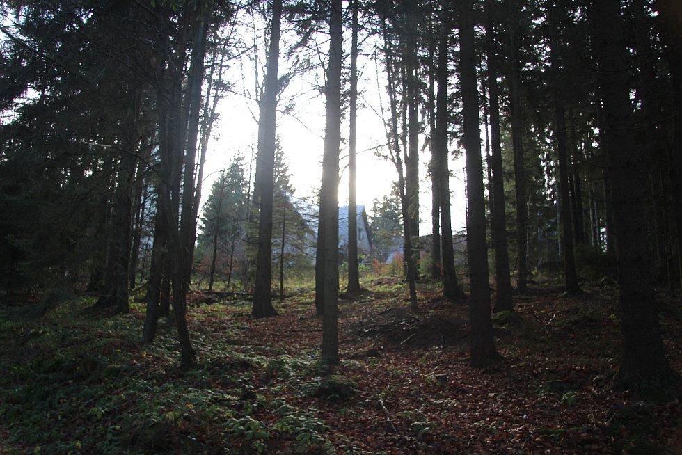Horská chata u rozhledny na vrcholu Libína.