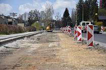 Opravy silnice ve vimperské Šušické ulici.
