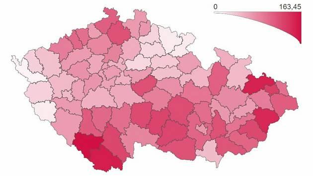 Počet osob s potvrzenou nákazou COVID‑19 za posledních sedm dní přepočtený na 100 000 obyvatel.