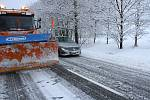 Silnice z Prachatic na Volary v pátek 19. ledna 2018.