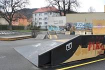Současný stav skateparku v Prachaticích.