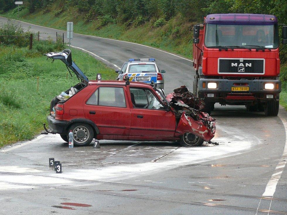 Nehoda na železničním přejezdu ve Čkyni.