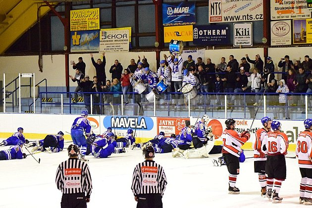 Vimperští hokejisté vyhráli ve Strakonicích 8:5.