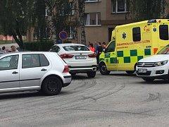 V ulici Slámova v Prachaticích se srazil osobní automobil s cyklistou.