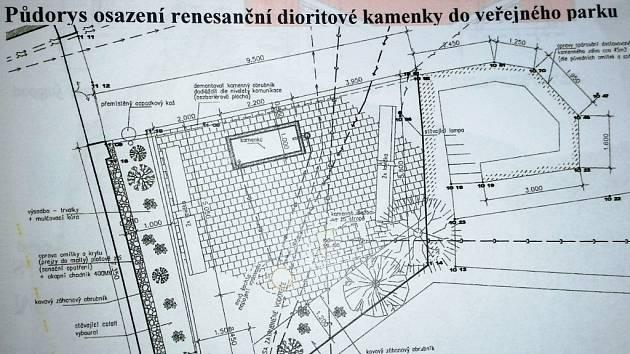 Plánek, který ukazuje, kam bude umístěna dioritová kamenka v Prachaticích.