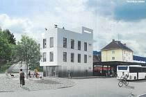 Busák 22. Studie, která ukazuje, jak bude vypadat lokalita autobusové nádraží ve Vimperku v roce 2022.