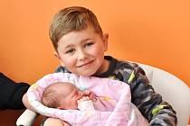 TEREZA MALÍKOVÁ, PODSRP. Narodila se ve středu 10. dubna v 11 hodin a 4 minuty ve strakonické porodnici. Vážila 3000 gramů. Má brášku Dominika (5 let).Rodiče: Monika a Jiří.