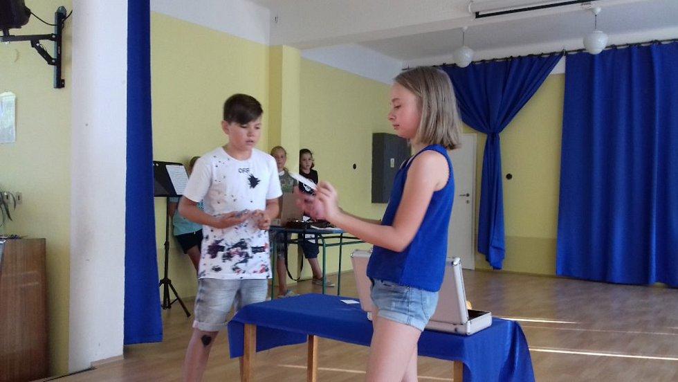 Obhajoby ročníkových prací páťáků ze ZŠ Zlatá stezka v Prachaticích.