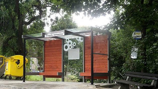 Nová autobusová zastávka u nemocnice ve Vimperku.
