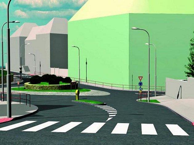 HLADKÝ PRŮJEZD.  Kruhová křižovka by měla zlepšit dopravu  v další části města. Animace ukazuje příjezd z Kasárenské ulice.