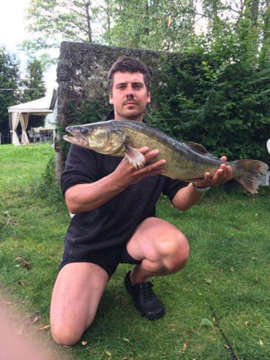 Candáta (75 centimetrů) vytáhl Libor Mareš (na snímku) z vod lipenského jezera v sobotu 8. července ve 4 hodiny ráno.