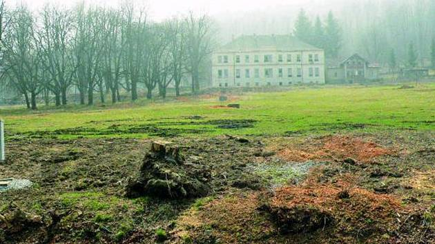 LÁZNĚ. Některé stromy musely ustoupit, nehodily se totiž do připraveného projektu. Samotné stavební práce na Léčebném centru se o něco posunou.
