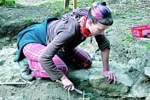 NALEZIŠTĚ. Jedna ze studentek archeologie na snímku nalézá další z lidských kosterních ostatků. Těch je v areálu archeoparku opravdu hodně. Zřejmě se zde totiž nacházel kostel se hřbitovem.