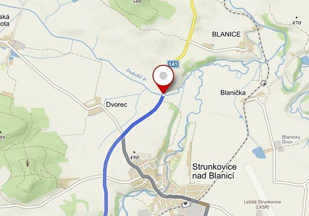 Hranice okresů Prachatice a Strakonice. Zdroj: mapy.cz