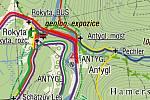 Mapa trasy kolem Antýglu.