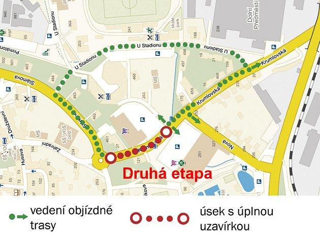 Druhý úsek Krumlovské ulice mezi kruhovými objezdy se bude dělat za úplné uzavírky od 2.do 6.listopadu.