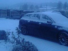 Sněhovou nadílku už mají i v Blažejovicích.