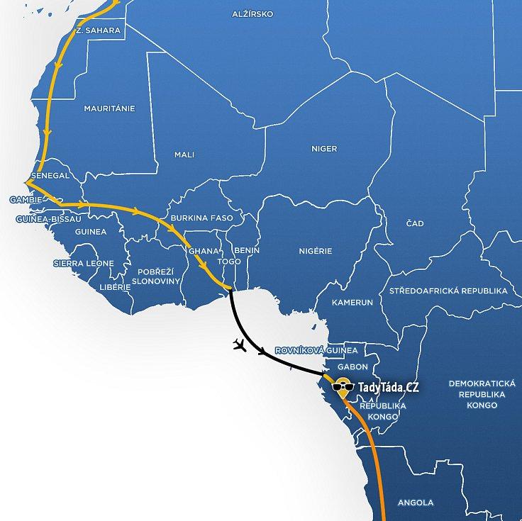 Mapa, kudy povede další cesta Tadeáše Šímy z Prachatic.