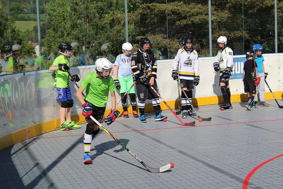 Starší žáci HBC Prachatice na tréninku.