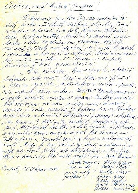 Vzkaz nalezený v láhvi ve Vimperku.