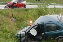 Dopravní nehoda na křižovatce silnic u Těšovic.