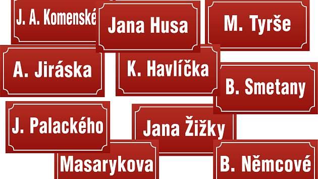 Některá jména ulic se opakují a najdete je téměř v každém větším městě.