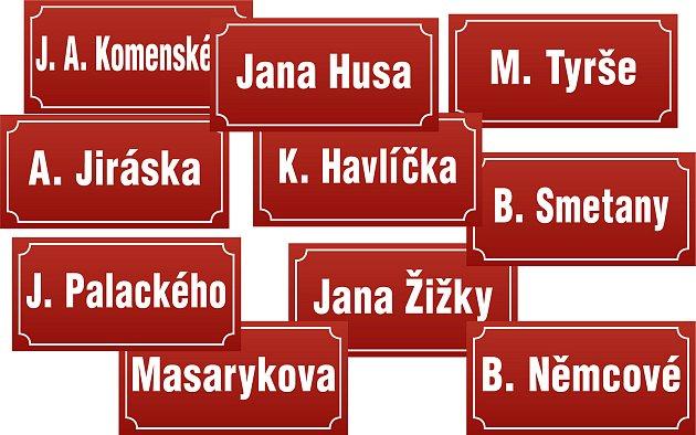 Některá jména ulic se opakují a najdete je téměř vkaždém větším městě.