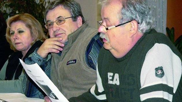 ELEKTRÁRNU CHTĚJÍ. Záměr postavit v Netolicích sluneční elektrárnu se zamlouval také trojici zastupitelů (zleva) Heleně Matějekové, Jaroslavu Peškovi a Václavu Hřebekovi.